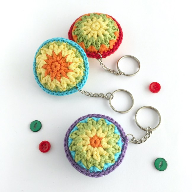Round hand-crocheted key rings in bright colours