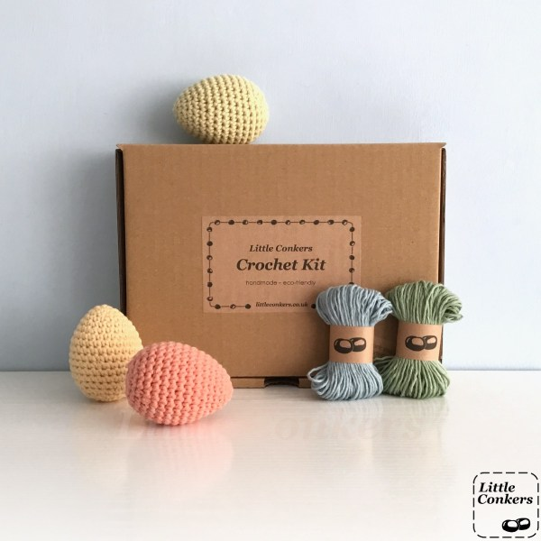 Crochet kit to make six eggs in a brown box