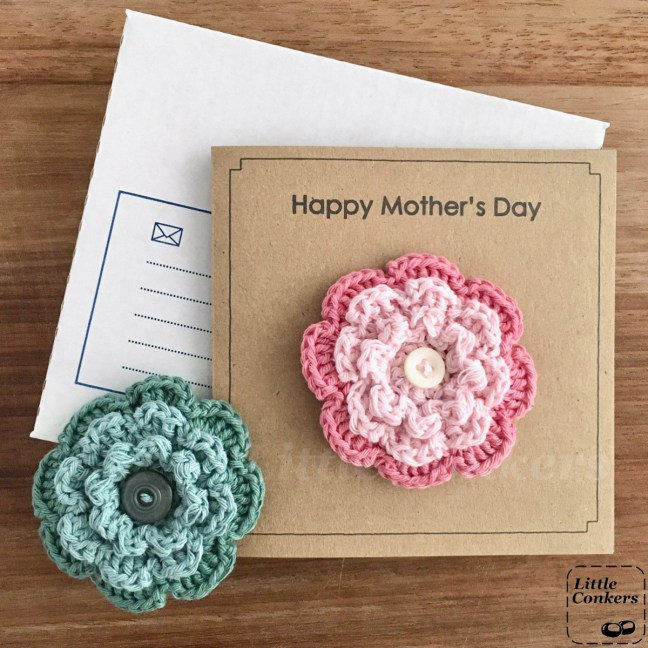 Recycled Mother's Day card with a flower brooch