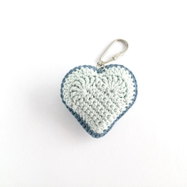 Blue crocheted heart keyring