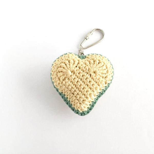 Green and yellow crocheted heart keyring