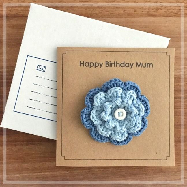 Birthday Card with Blue Flower