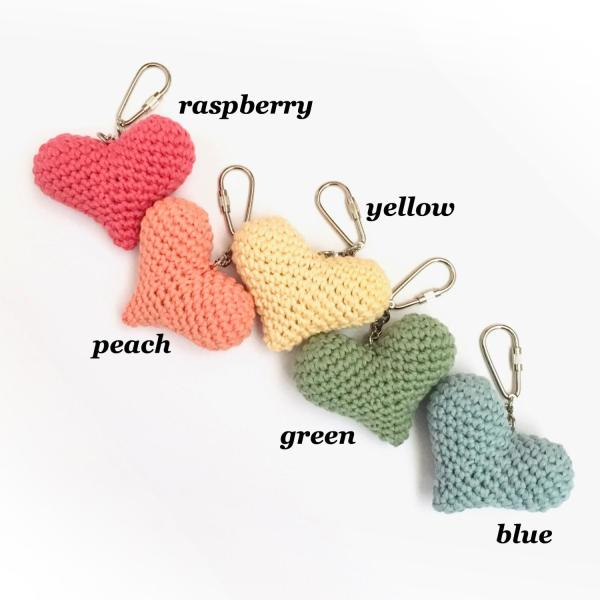 Organic Cotton Crocheted Heart Keyrings