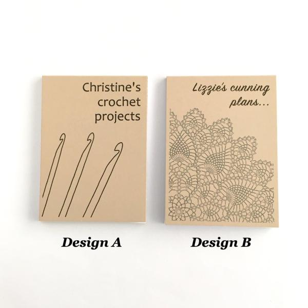 Recycled kraft notepad covers with crochet designs