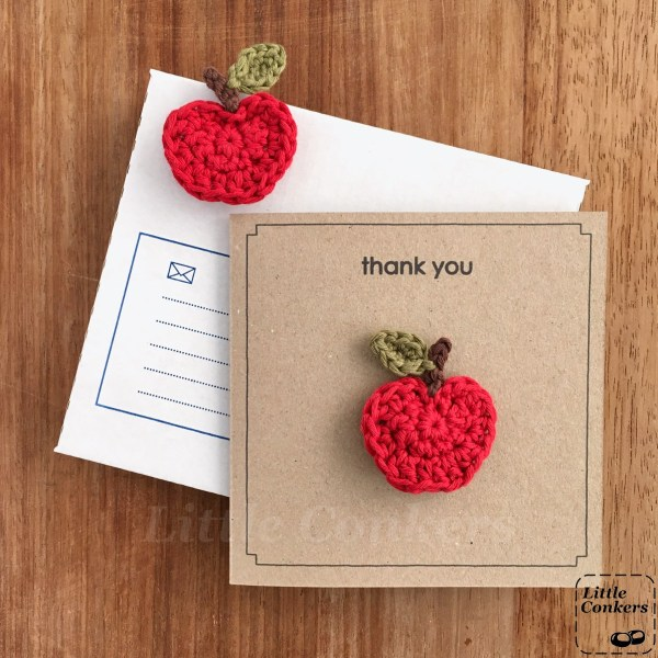 Kraft brown square thank you card with crocheted apple brooch