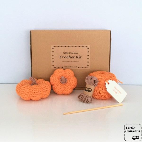 Pumpkin crochet kit with orange yarn in kraft box
