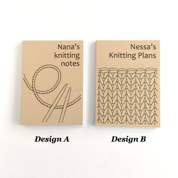 Recycled kraft notepad covers with knitting designs