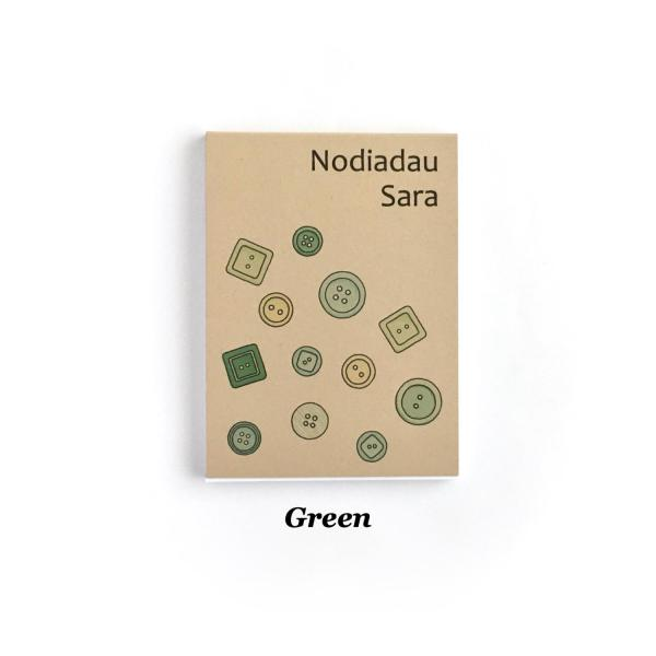 Small recycled notepad with green buttons design on cover