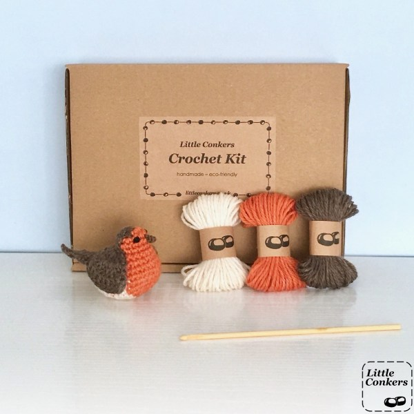 Crochet kit to make a robin in brown box