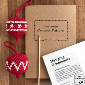 Christmas ornaments crochet pattern printed and in a kraft gift folder