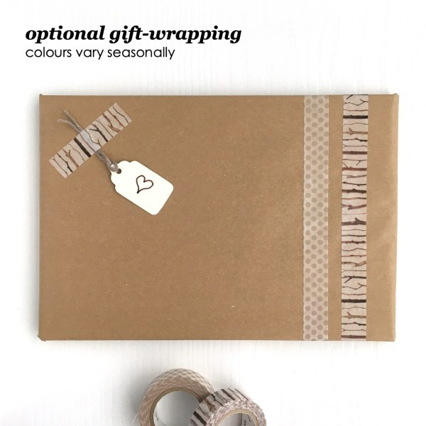 Gift wrapping with recycled kraft tissue, washi tape and recycled tag