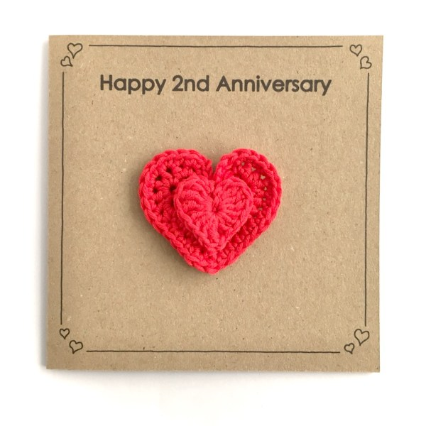 Anniversary Card with Red Cotton Heart Brooch