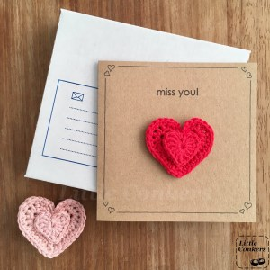 Recycled kraft missing you card with removable heart brooch