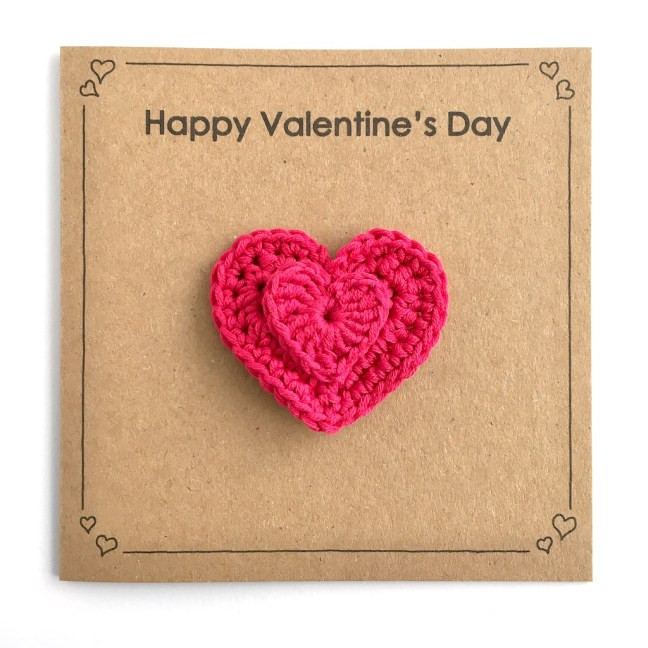 Recycled kraft Valentines Day Card with deep pink heart brooch