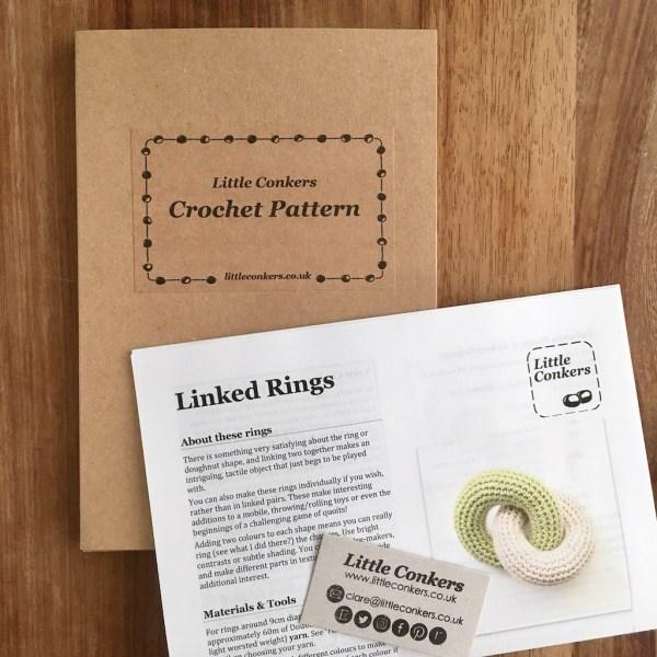 Printed crochet pattern in a recycled kraft folder
