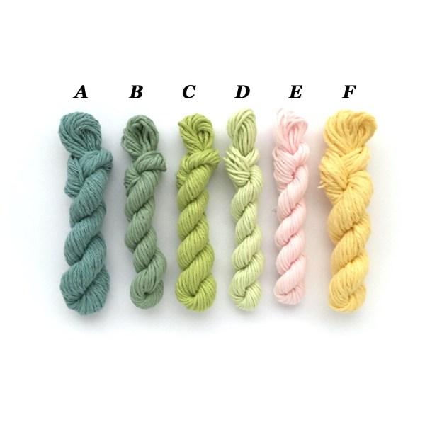 Mini yarn skeins in spring colours