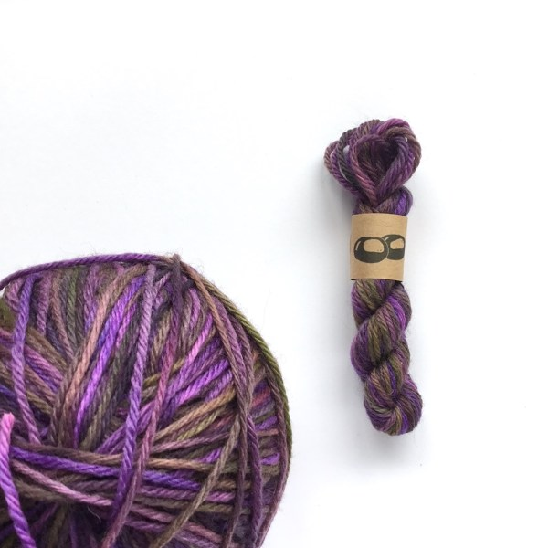 Hand-dyed purple wool yarn