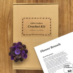 Flower Brooch Crochet Kit in kraft box