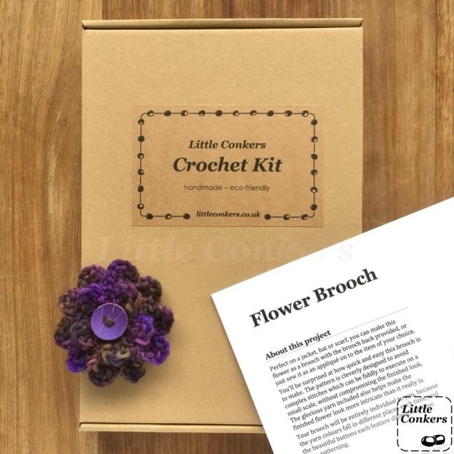 Flower Brooch Crochet Kit in kraft box