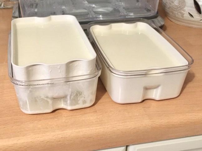 Yoghurt straining in a tub