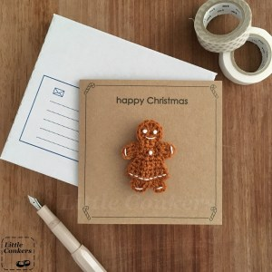 Kraft greetings card with gingerbread person brooch