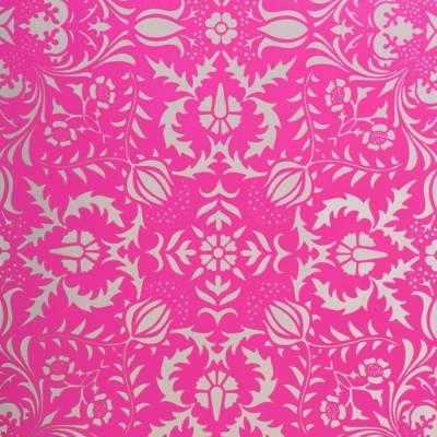 Hot pink silver damask wallpaper