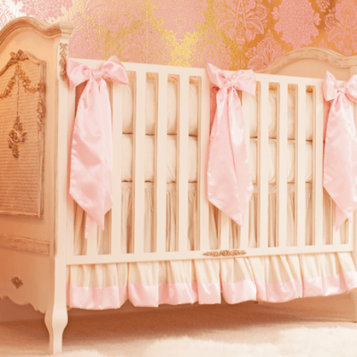 pink silk crib bedding