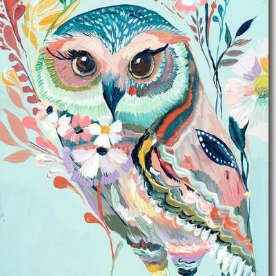 Colorful Owl Nursery Art