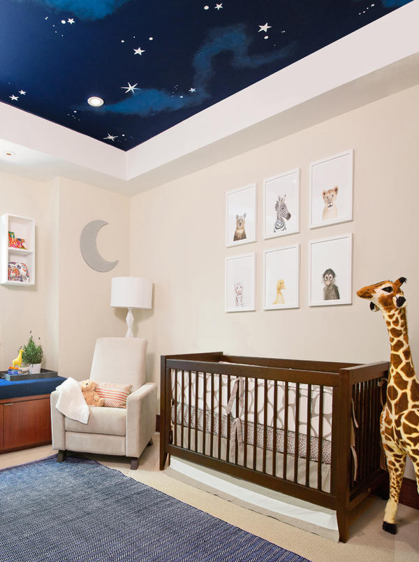 Neutral Nursery with Ceiling Mural by Little Crown Interiors