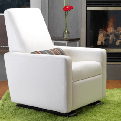 White Leather Glider | Little Crown Interiors