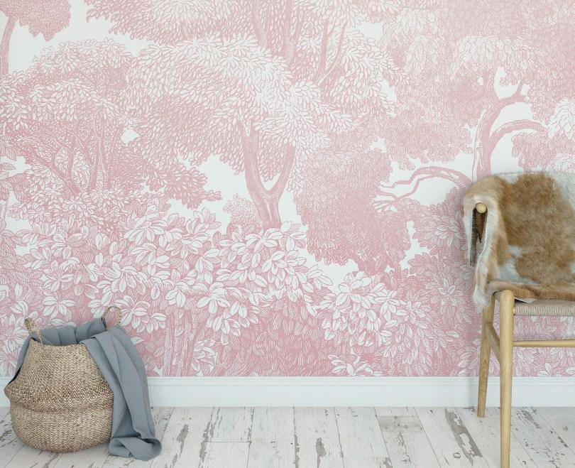 Pink Forest Wallpaper Detail | Little Crown Interiors