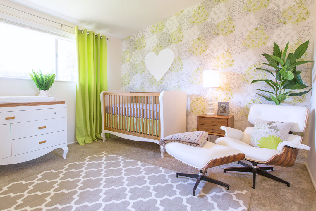Green and white modern nursery