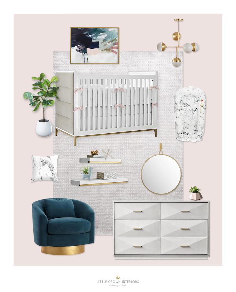 Pink White Marble Nursery E-Design