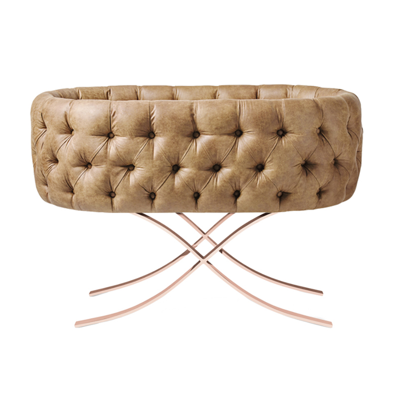 Upholstered Leather Bassinet Rose Gold Base