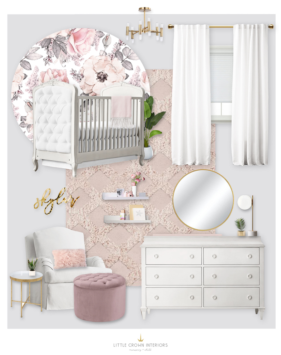 Sierra Dallas's Floral Nursery E-Design by Little Crown Interiors