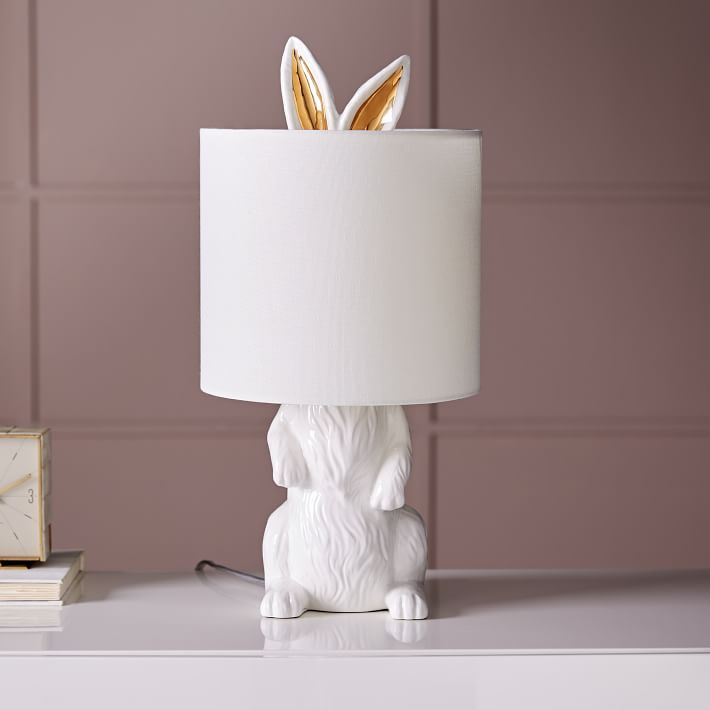 Ceramic rabbit table lamp with gold ears