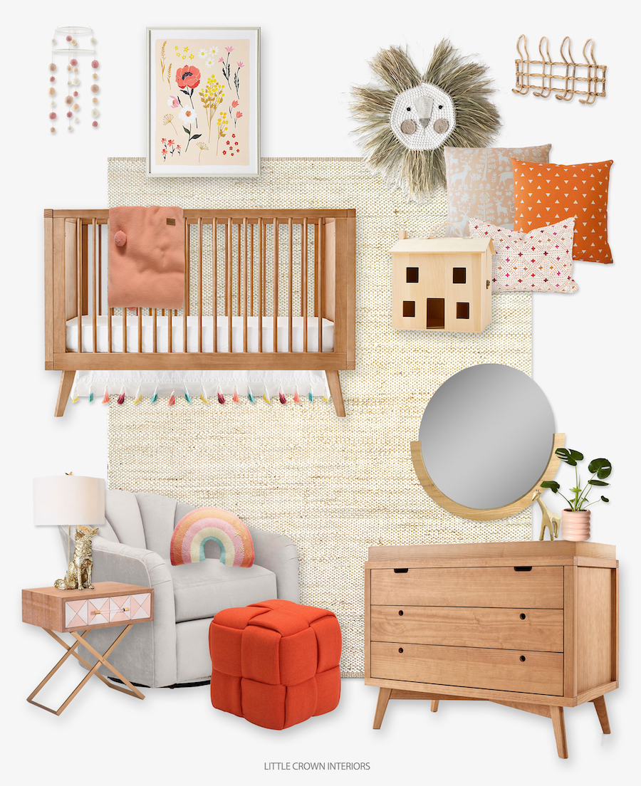 Pink and Orange Scandinavian Inspired Nursery
