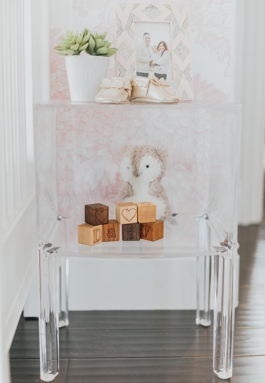 Pink Nursery with Acrylic Table by Little Crown Interiors