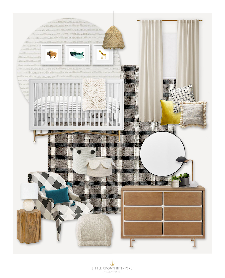 Gender Neutral Plaid Nursery Design by Little Crown Interiors
