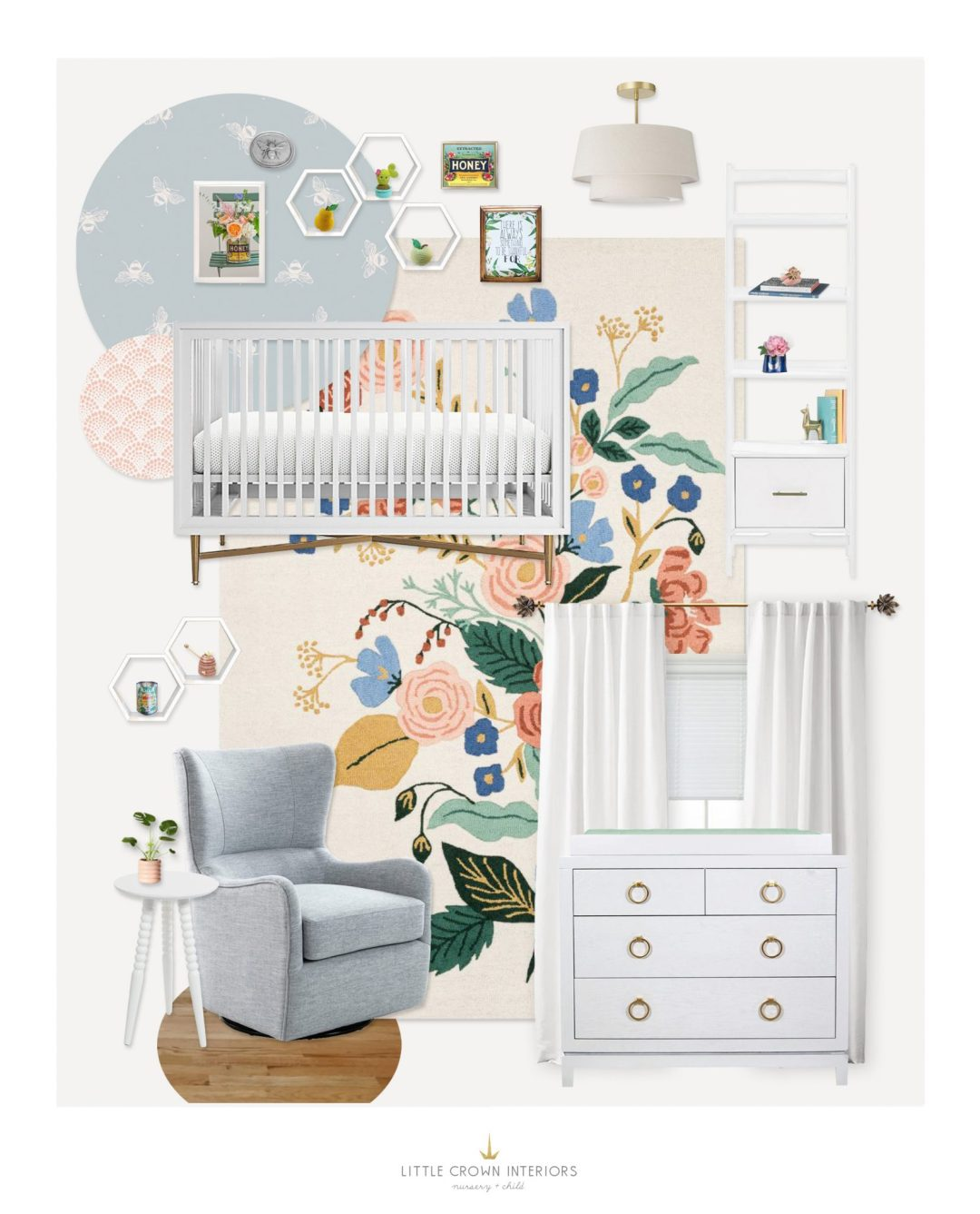 Floral Nursery E-Design by Little Crown Interiors
