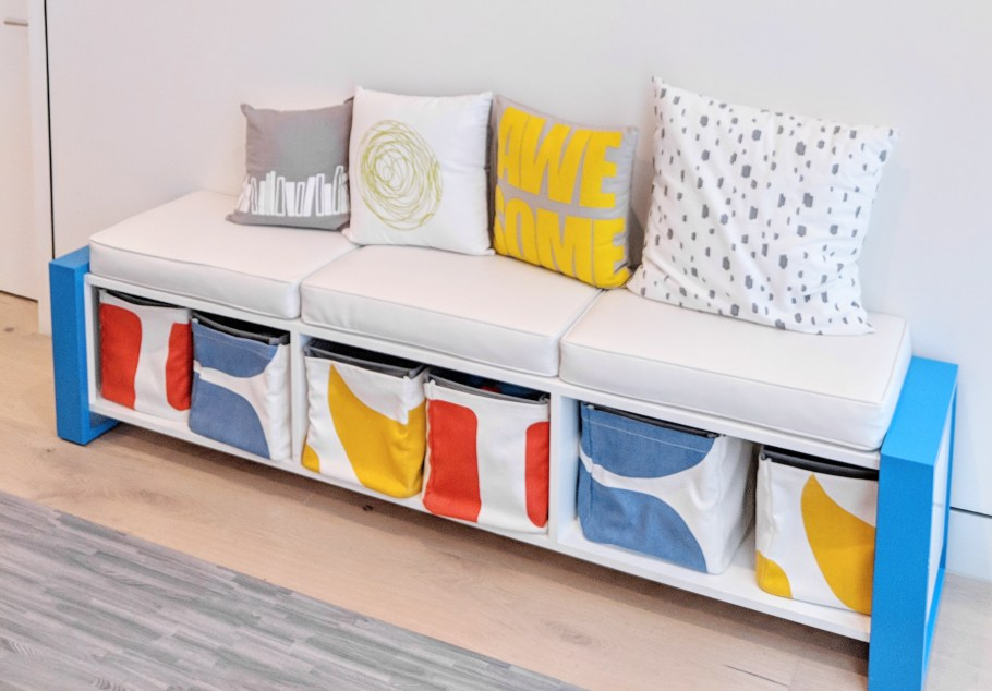 Colorful Modern Playroom Storage Bench