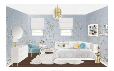 E-Design Reveal: A Girl's Room with Chinoiserie Wallpaper