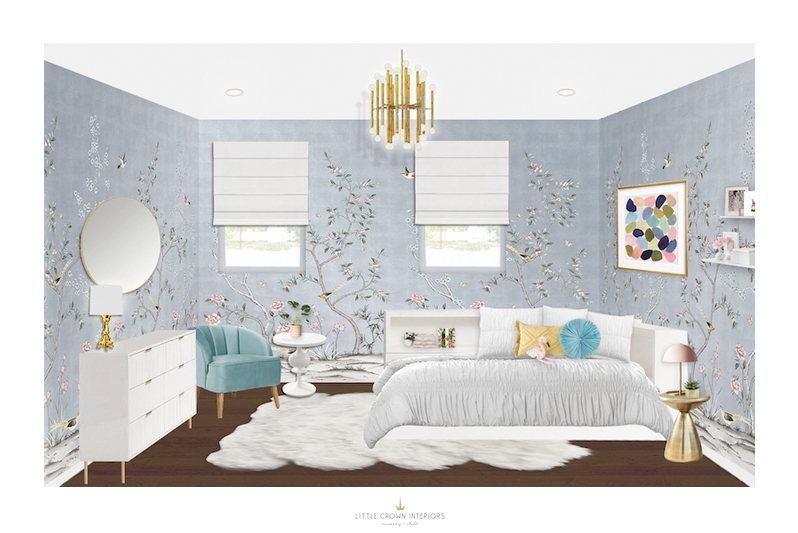 Chinoiserie Girl's Room Design by Little Crown Interiors