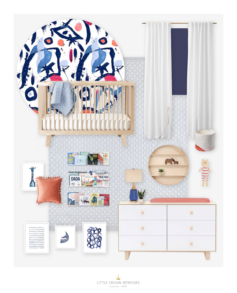 Modern Abstract Boy Nursery E-Design