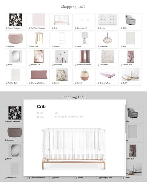 Nursery E-Design Shopping List
