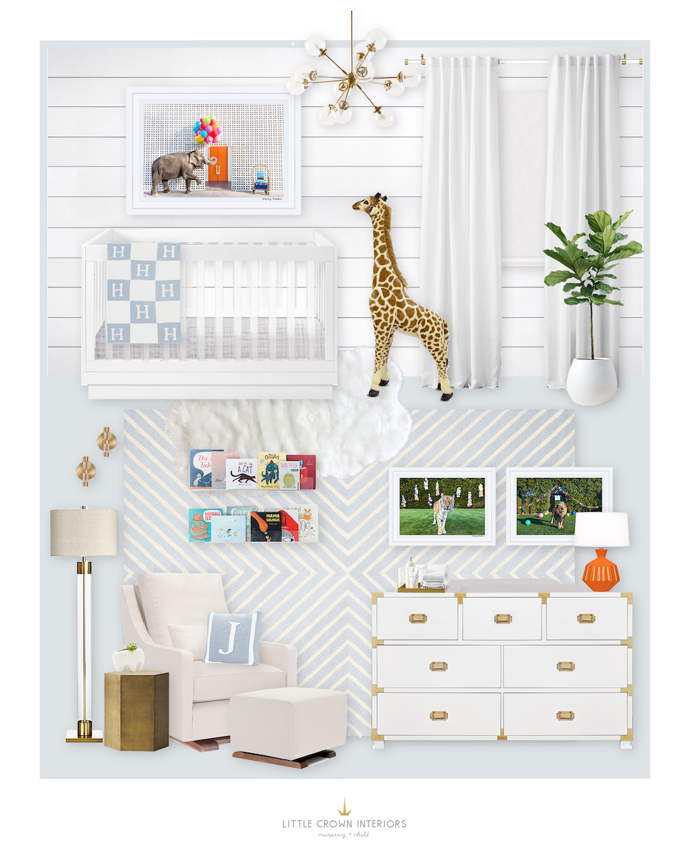 White and Blue Nursery E-Design Reveal