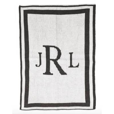 Black and White Monogram Baby Blanket