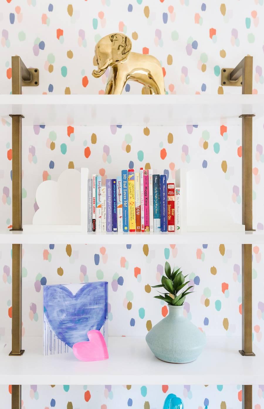 Colorful Nursery Bookshelf Decor and Styling