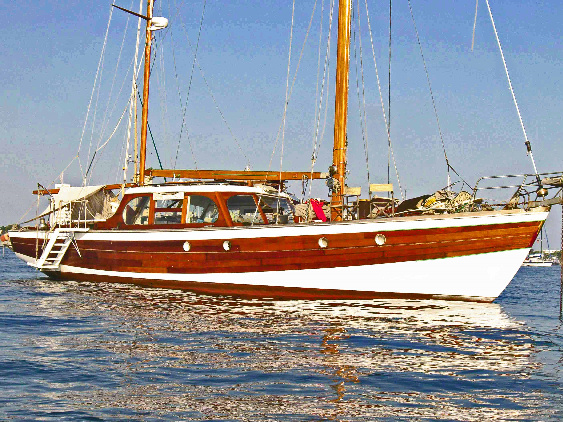 S/V Awab, built 18 years later than Flying Gull, for the same owner, using the same plans. The owner wanted this boat slightly longer and beamier. She also carries 3 sails to Flying Gull's 4.