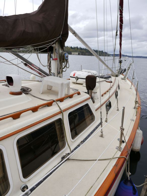 S/V Seaclusion, at her mooring in Olympia.